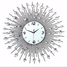 US Luxury Diamond Wall Clock Scenic Iron Art Metal Living Room Round Home Decor
