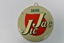"""Antique 1950s New Old Stock Drink Jic Jac 9"""" Celluloid Soda Button Sign Pop Cola"""