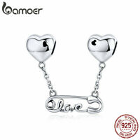 BAMOER Authentic S925 Sterling silver charm Love clip Fit Women Bracelet Jewelry