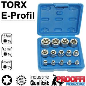 "14-tlg TORX Stecknuss E-Profil E4 - E24 Steckschlüssel Satz 1/4 3/8 1/2"" Ratsche"