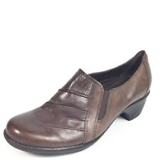 Clarks Womens Size 7.5 W Brown Leather Heel Slip On Shoes.