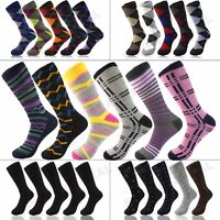 3 6 9 12 Pairs Funky Mens Colorful Argyle Diamond Dots Cotton Casual Dress Socks