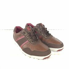Footjoy Mens 10 W Wide Contour Casual Spikeless Brown Leather 54371 Golf Shoes