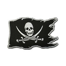 Pirate Flag Skull Cross Swords White on Black Iron on Patch Biker Patch