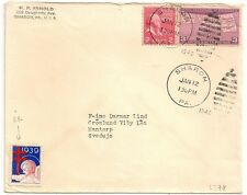 COVER USA UNITED STATES TO SWEDEN SHARON PA 1940. CROIX DE LORAINNE 1939. L378