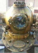 Vintage Brass Diving Helmet Us Navy Mark V Antique Morse Marine Divers Helmet