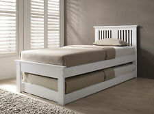 Solid Wood Bed Single With Pull Out Trundle Oak White Guest Bed Halkyn