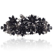 Black Rhinestone Crystal Flower Barrette Silver Tone Hair Clip Party Gift