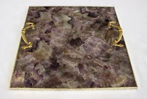 Amethyst Agate Serving Tray With Brass Handles Square For Kitchen Use
