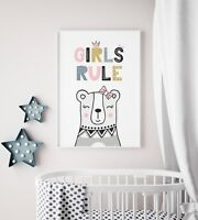 """Girls Rule"" Print / Picture for Nursery / Childs Bedroom / Scandi / Bear / Cute"