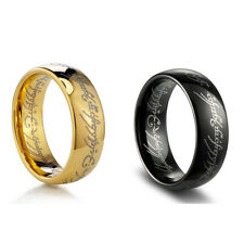 SAURON ANELLO DORATO ORO TRILOGIA LORD OF THE RINGS BLACK LO HOBBIT NERO qn