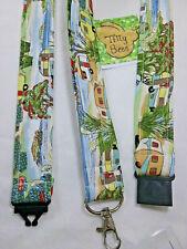 Fabric lanyard Handmade Vintage Caravan safety clip ID badge holder gift
