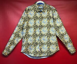 ETRO Paisley Bold Gold Blue Men's 100% Cotton Long Sleeve Shirt Made Italy XXL