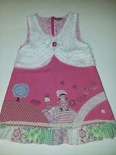 NEXT Brand Vintage Pink Girl And Bunny Scene Dress Girls Sz 6 Mint Condition