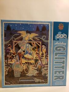 Master Pieces Holiday Glitter Holy Night 500 Piece Jigsaw Puzzle Complete