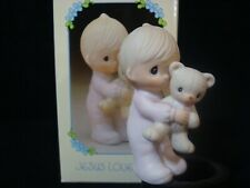 Precious Moments-Boy With Teddy Bear-Retired-Jesus Loves Me-Retired 1998
