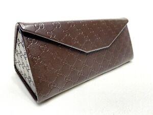 Gucci Medium Brown Folding Triangle Hard Side Eyeglasses Protective Case