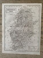 1833  NOTTINGHAMSHIRE ORIGINAL ANTIQUE COUNTY MAP BY SIDNEY HALL 186 YEARS OLD