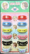 Vintage 1950s Shop Display Card- 12 Big Flower Pony Tail Bands