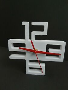 3d Printed modern Wall or Table Clock white with red dial