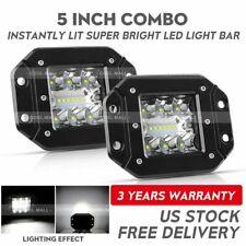 "2X 5"" 260W Flush Mount LED Pods Work Light Bar Tri Row Spot Flood Off Road 4WD"