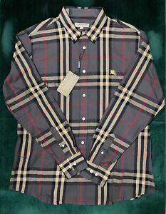 Burberry London MENS Khaki Check Logo Embroidery MULTICOLOR Shirt Size XL