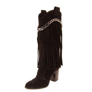 RRP €870 CASADEI Suede Leather Mid-Calf Boots EU 37.5 UK 4.5 US 7.5 Fringe Heel