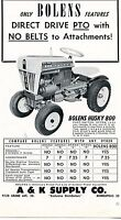 1963 small Print Ad of A&K Supply Co Bolens Husky 800 Tractor