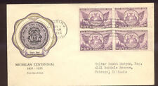 #775 1936 Michigan Centennial Block FDC F R Rice Cachet Planty #11 Cat $15 F1124