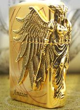 Amazon Gold Free Gift Set(Shipping,Flint,Wick) Zippo Lighter Korea Wings Angel