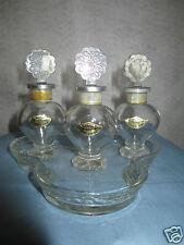 Avon Glass Tray w/ Logo & 3 empty perfume bottles, Wishing, Rapture & Somewhere