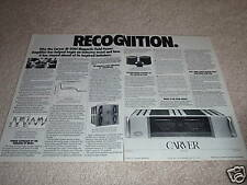 Carver m-500t Power Amp Ad from 1987,2 pages,details