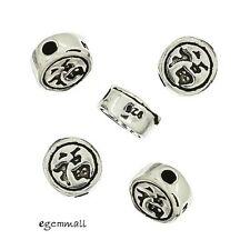 4 Antique Sterling Silver Chinese Happiness Round Coin Spacer Beads 5.2mm #97740