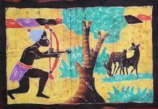 Batik Afrique de Cote d'Ivoire gazelle et chasseur