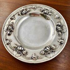 Kerr Art Nouveau Sterling Silver Bottle Coaster / Cracker Plate Water Lillies
