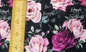 Custom 100% Cotton Woven Fabric NSFW Purple Floral Swear Words By the 1/4 Yard