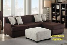 Loveseat & Chaise 2 pcs sectional in chocolate color living room furniture set