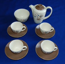 Vintage Poole Pottery 10 Piece Coffee Set. Two Tone Blue Tulip Pattern. VGC.