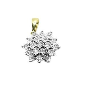 9ct Gold and Diamond Floral Cluster Pendant