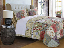 Beautiful Floral Vintage Patchwork Green Red Pink Rose Quilt Set & Pillows- King