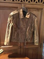 Carole Little Saint Tropez West Leather Suede Jacket Cowboy Fringe Leopard Small