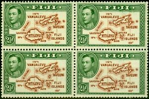 Fiji 1942 2 1/2d Brown & Grün SG256b P.13.5 Sehr Fein MNH Block Of 4 (2)