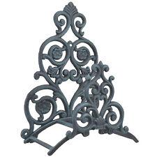 Hanging Garden Hose Holder Floral & Spade Verdigris Cast Iron Wall Mount Reel