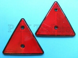 Red Triangle Reflectors for Driveway Gate Fence Posts & Horse Box Trailer x 2