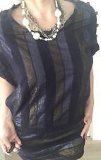 SPORTSGIRL WOMENS DRESS STRIPED SHORT GOLD SILVER SZ 10