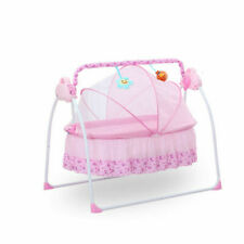 Big Space Electric Baby Crib Cradle Infant Rocker Auto-Swing Sleep Bed Pink