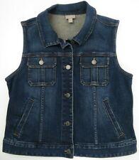 J Jill Bleu Jeans Extensible Gilet Veste Femmes TAILLE S