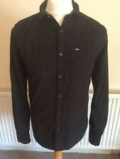 Men's SUPERDRY PREMIUM Black Spotted Long Sleeve Shirt MEDIUM Spell Out Buttons