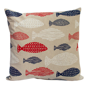 Nautical Fish Double Sided Cushion. Linen, Red, and Blue. Seaside Marine Design.