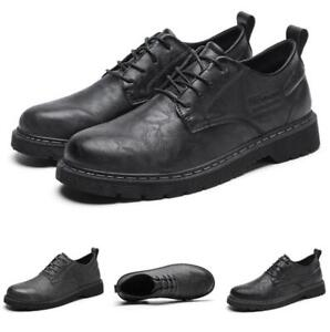 Retro Mens Business Leisure Shoes Work Oxfords Round Toe Office Lace up Casual L